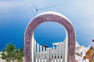 Fence gate in Oia town, Santorini.