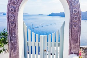 Fence gate in Oia town, Santorini.