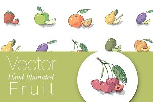 Vector Brush Illustrated Fruit