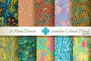 10 Colored Seamless Florals. Set #6