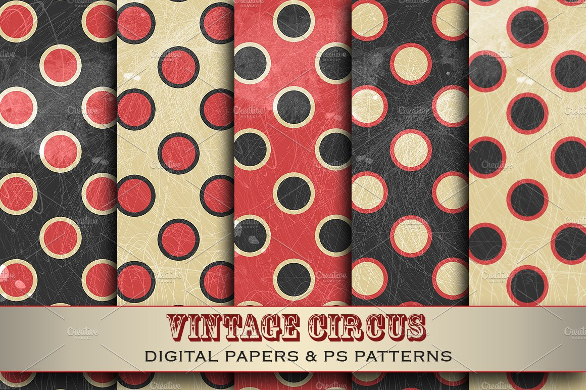 Vintage Circus Graphic Patterns Creative Market