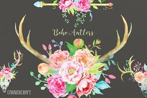 Waterolor Boho Antlers Floral Antler