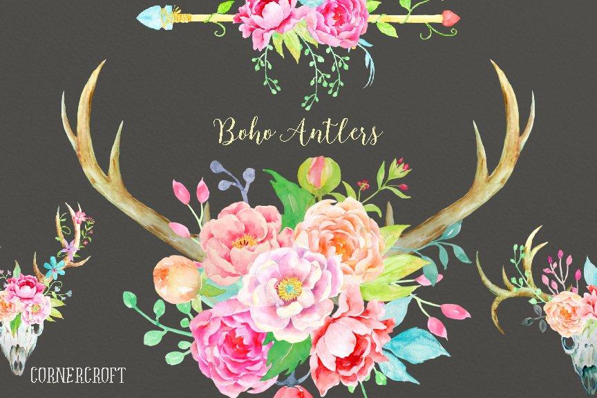 Waterolor Boho Antlers Floral Antler Illustrations