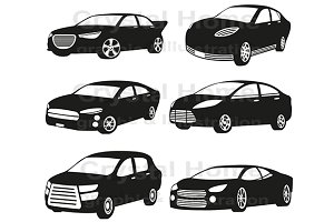 Original silhouette car icon set 1