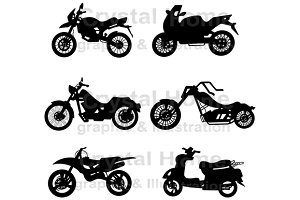 Silhouette motorcycles icon set