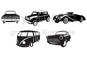 Silhouette retro car icon set 2