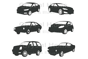 Modern silhouette car icon set 3