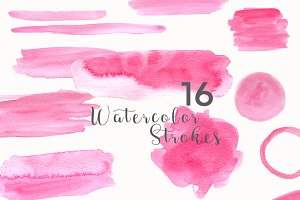 48 watercolor PINK,BLUE,GOLD strokes