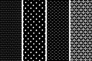 Mudcloth black and white pattern set