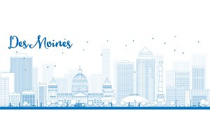 Outline Des Moines Skyline
