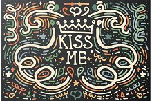Kiss Me. Hand drawn vintage print.