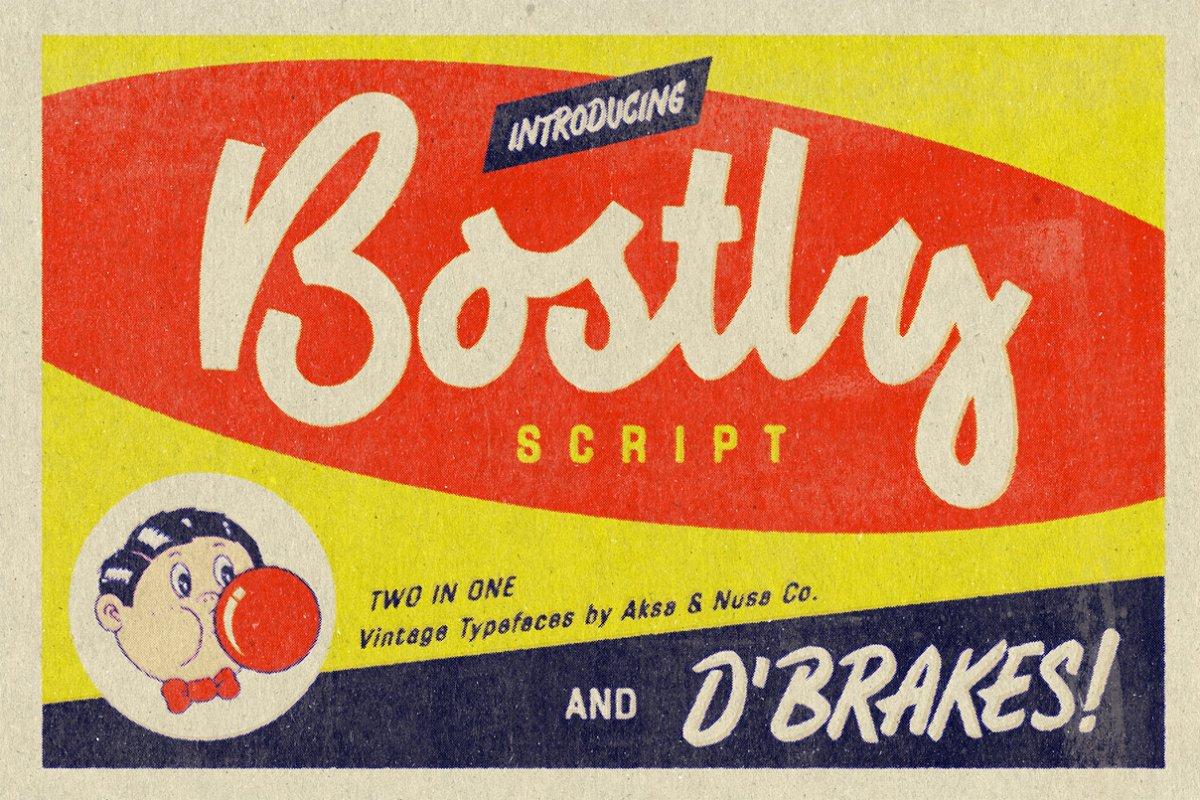 Vintage Fonts Bostly & D'brakes ~ Script Fonts ~ Creative Market