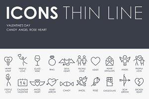 Valentine's Day thinline icons