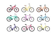 Bicycle Set Design Flat Isolated