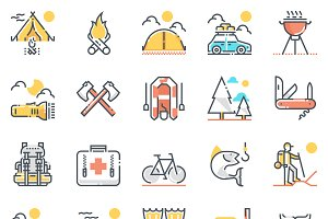 Camping icon set - color