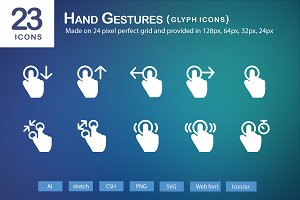 23 Hand Gestures Glyph Icons