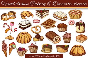 Hand drawn Bakery&Dessert clipart