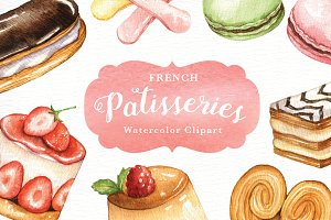 French Patisseries. Hand painted