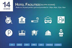 14 Hotel Facilities Glyph Icons