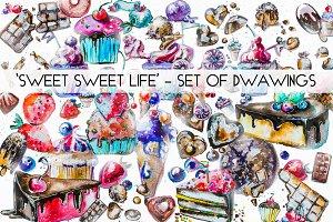 'SWEET SWEET LIFE' - set of drawings
