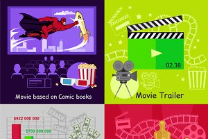 Cinema Set Banners Film Movie Design