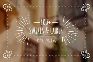 100+ hand drawn swirls & curls