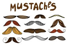 Mustaches - hand drawn