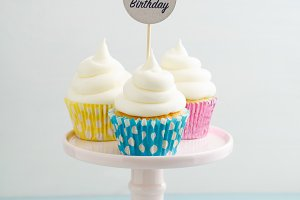 Three happy birthday cupcakes