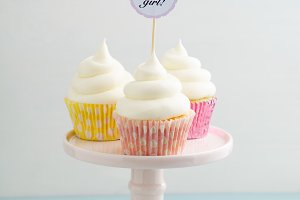 Three baby shower cupcakes