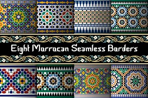 8 different Morocco Seamless Borders