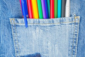 Jeans pocket and pencils