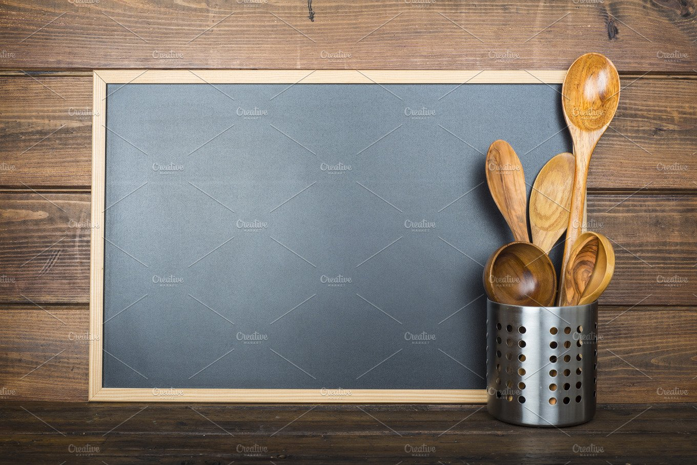 Wooden background with a chalkboard and cooking utensils ~ Food ...