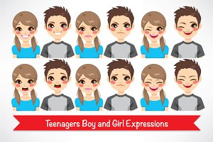 Avatar Teenager Boy Girl Expressions