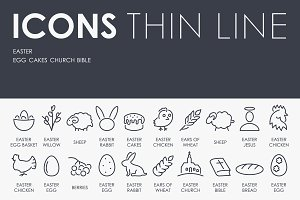 Easter thinline icons
