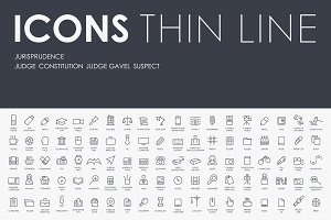 Jurisprudence thinline icons