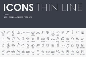 Crime thinline icons