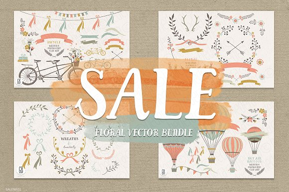 SALE! Floral wreaths, balloon, bike in Illustrations
