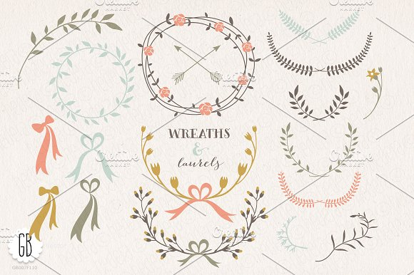 SALE! Floral wreaths, balloon, bike in Illustrations - product preview 1