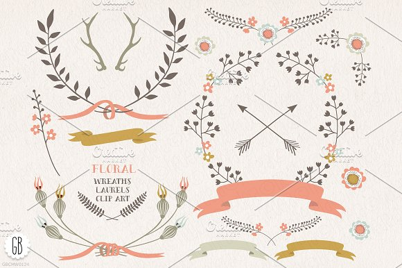SALE! Floral wreaths, balloon, bike in Illustrations - product preview 4