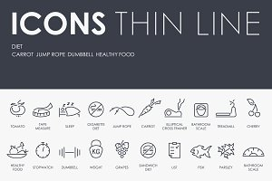 Diet thinline icons