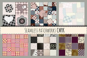Set of seamless patterns in CMYK