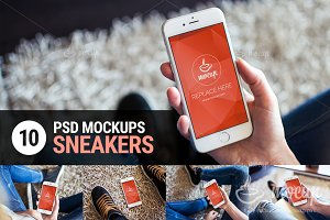 10 PSD Mockups iPhone 6 Sneakers