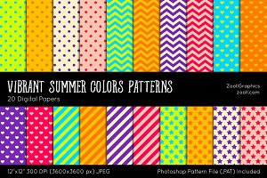 Vibrant Summer Colors Digital Papers