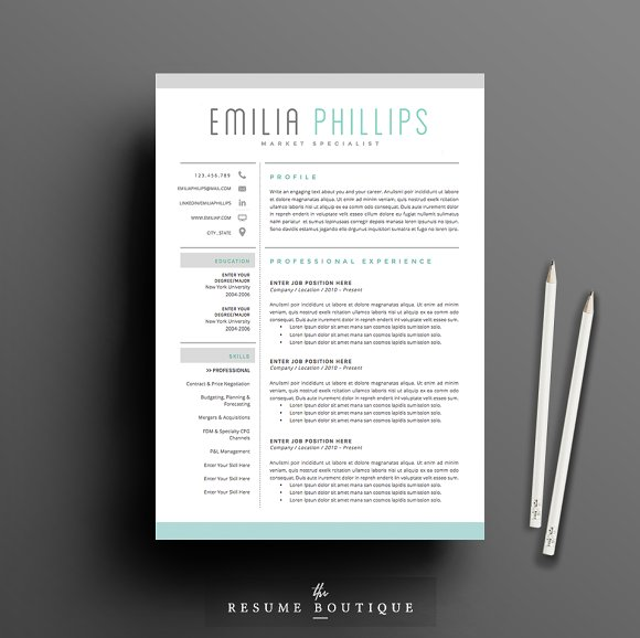 Resume Template 4 page pack | Aqua ~ Resume Templates ~ Creative Market