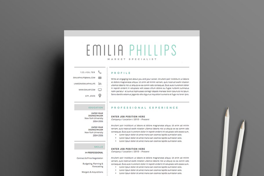 dc044f50d389 Resume Template 4 page pack
