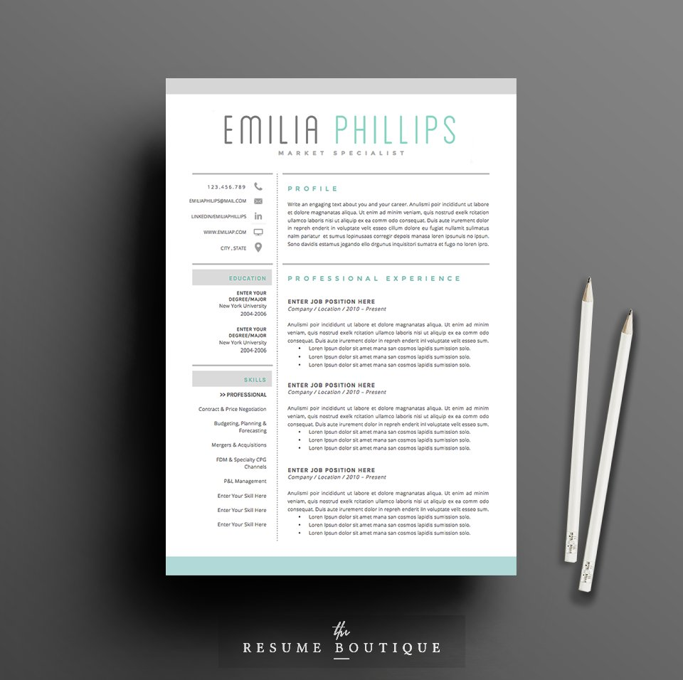 resume template 4 page pack aqua resume templates creative market - Graphic Design Resume Template