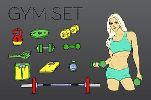 Gym set icons. Sport girl. Vector.