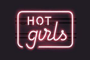 "Neon Sign ""Hot Girls"""