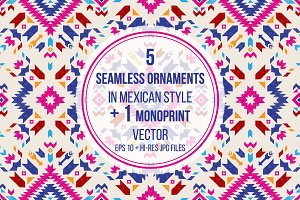 Seamless ornaments in mexican style