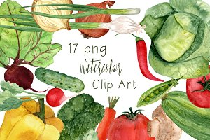17 Watercolor Vegetables Clip Art